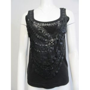 GIVENCHY black sequin embroidered tank top sz M